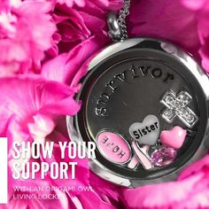 """Survivor Plate  Pink ribbon, HOPE, Sister heart, crystal cross, heart with wings, pink birthstone Origami Owl Living Lockets! Personalize yours today! ORDER BY CLICKING ON PHOTO 1) Click """"Sign in to My Account"""" 2) Create Account 3) Happy Shopping! Designer #16516 JOIN MY TEAM! Host a party :-) Join the fun!"""