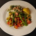 Two Steps Forward, One Back  5:2 Diet Again -  Cod with Shrimps and Summer Vegetable Medley