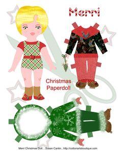 paper dolls, christma papercraft, merri christma, christmas paper