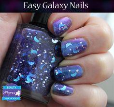 Teal Thursday Easy Galaxy Nails Tutorial! Just 2 polishes! @KBShimmer Bath and Body Bath and Body #kbshimmer #literarylacquers #galaxy #nails #galaxynails #nailpolish #beauty #makeup #purple #blue #teal #moon