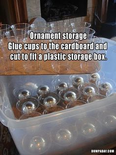 Organize DIY: use plastic cups (hot glued to cardboard?) to store individual ornaments - great for vintage ornament storage!