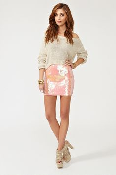 sparkly skirt with sweater