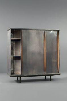 Jean Prouvé; #101 Oak and Aluminum Armoire for Ateliers Jean Prouvé, c1946.