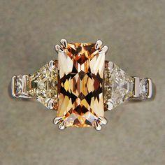 3.31ct Orange Yellow Natural Sapphire 81ct Trapezoid Diamond Platinum Ring