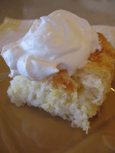 Pineapple Cake - I've made this many times, and I think it might be time to again.  - Box of Angel Food Cake Mix & a can of pineapple, stir and bake.  I like to top with Cool Whip.