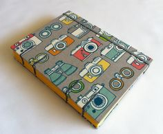 Organic Fabric Journal Notebook - Coptic Stitched - Vintage Cameras. by BBhandmades on Etsy