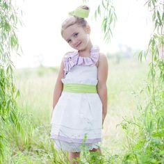 Funky off-beat flower girl dress