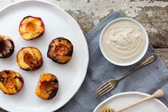Grilled Peaches & Sweet Cream with Crunchy Bits