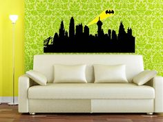 wall art, wall decor, living rooms, gotham city, quote wall, wall sticker, wall decals, vinyl, city skylines