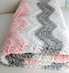 "Pink and Gray Chevron Baby Blanket - Crochet Pink Baby Blanket - Chevron Baby Girl Pink Gray Nursery Bedding / Chevron Bedding 27 X 30"" on Etsy, $55.00"