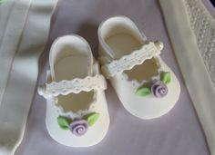 sugar paste baby shoes