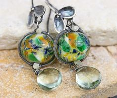 The Lilt  Silver Glass Gemstone Earrings by JewelsByLDesigns, $63.00