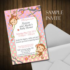 Custom Monkey Baby Shower Invitation Digital by asitcomesitgoes, $10.00