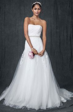 David's Bridal Collection Strapless Tulle A-line Gown with Beaded Appliques Style V3469 #davidsbridal #weddingdresses