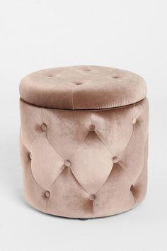 Ava Storage Ottoman / Pink Tufted Velvet