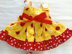 Brown Baby Rag doll clothes Ladybug dress with matching bloomers