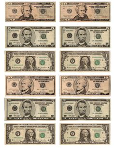 Printable money for teaching about American money.