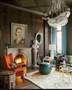 Beautiful interior design...Not for me, but I just loved the look of this room...notice the ship chandelier......CB