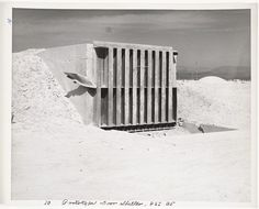 """United States Atomic Energy Commission, """"Atomic Tests in Nevada [Prototype door shelter, P.S.I. 35]"""" (1957)   photograph   gelatin silver print    Source: http://www.sfmoma.org/explore/collection/artwork/127292#ixzz1jHQ85jkA   San Francisco Museum of Modern Art"""