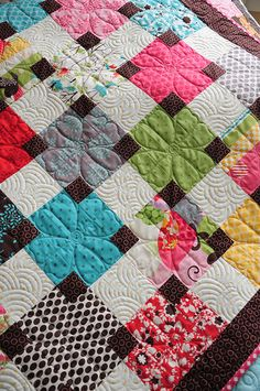 love the flowers quilted on these blocks