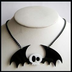 Skull Bat Acrylic Necklace