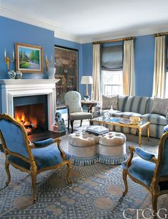 Edward Ferrell+Lewis Mittman Sofa and Ottoman | Diana Sawicki Designs a Fairfield County Home in a Broad Palette of Blues | Connecticut Cottages & Gardens | February 2014