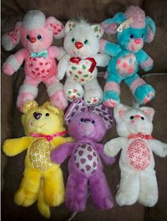 Yum Yums 1980's 1990's scented  plush stuffed animals toys. Cheery Cherry Poodle, Christmas Cookie Bear, Cotton Candy Poodle, Lucky Lemon Lion, Goody Grape Mouse, Peppymint Kitty
