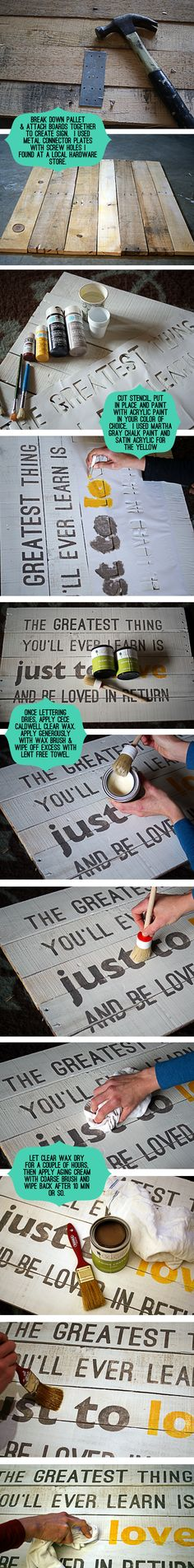 Signs with Pallet wood: great photo tutorial