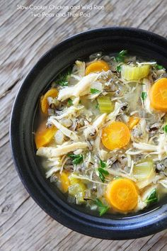 Slow Cooker Chicken and Wild Rice Soup on twopeasandtheirpod.com Perfect soup for a chilly day or if you are feeling under the weather!