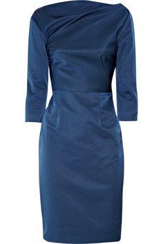 Lela Rose V-back twill dress