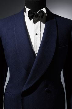 Knize evening jacket Blue wool herringbone twill