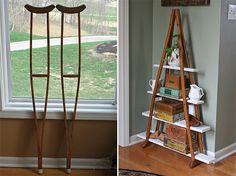 Easy Pinteresting DIY Home Decorating Ideas - Crutches BookShelf Craft Project
