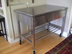 Stainless kitchen Island/Work table with wheels — Best offer $525