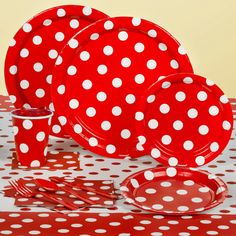 Red with white polka dots.