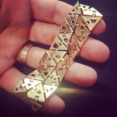 3d printed gold bracelet.  #3d #jewelry #3dprinting #CAD #design