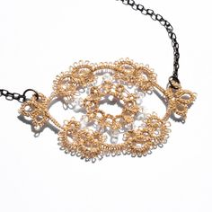 Gold lace necklace / handmade lace / lace fashion / lace jewelry / delicate jewelry /.