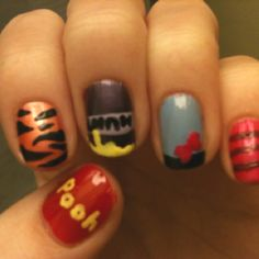 Winnie the Pooh themed nail art