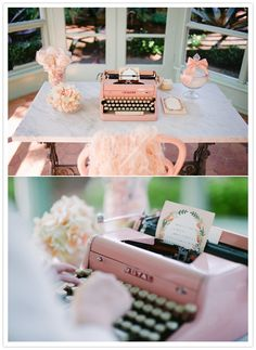 """pink typewriter guest notes. I have seen using an old non functional typewriter to hold the """"leave a note card"""" but the idea of a functional type writer to type on them is also cool!!"""