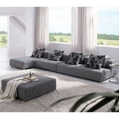 Tosh Furniture Modern Zebrano Fabric Sectional Sofa