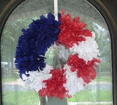wreath frame, front door wreaths, blue fabric, memorial day, red white blue, front doors, craft idea, christma craft, blues