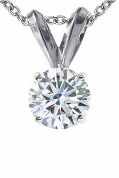 Vir Jewels 0.5 CT Diamond Solitaire Pendant In 14K White Gold