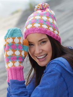 Polka Dot Hat & Mittens | Yarn | Free Knitting Patterns | Crochet Patterns | Yarnspirations