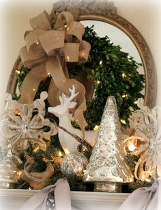The Fancy Shack: Christmas Mantel- boxwood wreath