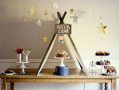 camping themed birthday party. cute idea!