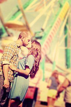 Ferries wheel circus romantic couple engagement photography  #kiss #kisses #kissing #couple #love #passion #romance #fair