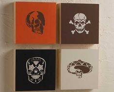 DIY Stenciled Skull Canvases