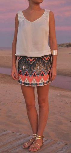 The skirt, sequin Aztec!