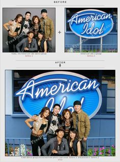 Studio background of Kaba Modern dance group photo removed and replaced with American idol signage. Quick photo editing is free.  http://www.freephotoediting.com/samples/change-background/021-american-idol-dance-group-kaba-modern.htm