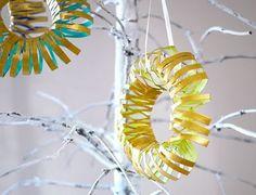 Toilet paper roll wreath ornament