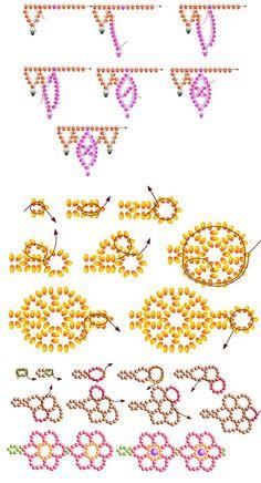 Схема ажурных цепочек из бисера